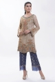Multicolor Embroidered Gold Kameez with Navy Blue pants